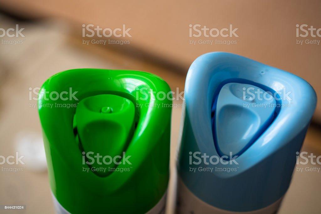 Linha de ar de ambientador de cilindros de cor. - foto de acervo