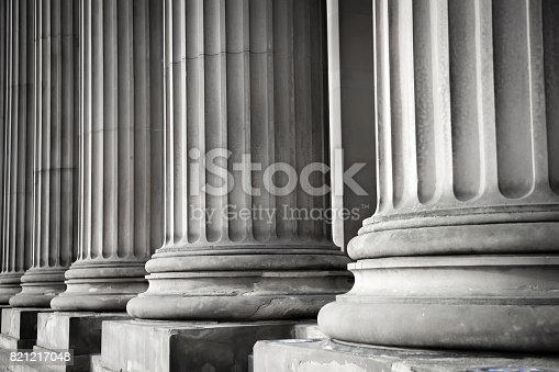 Row of columns in black and white