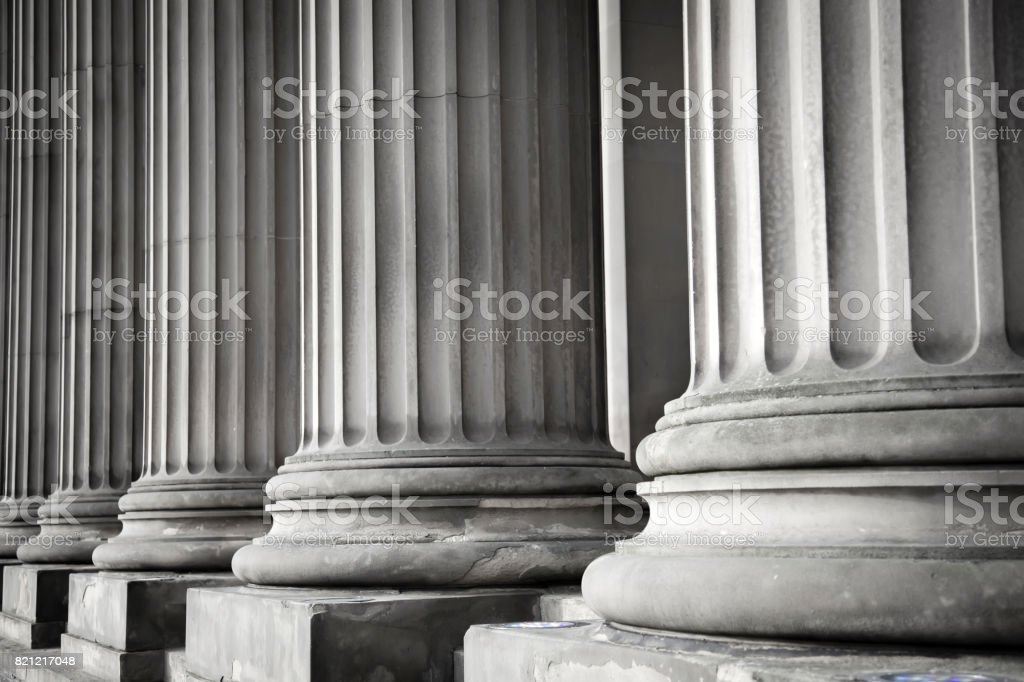 Row of columns stock photo
