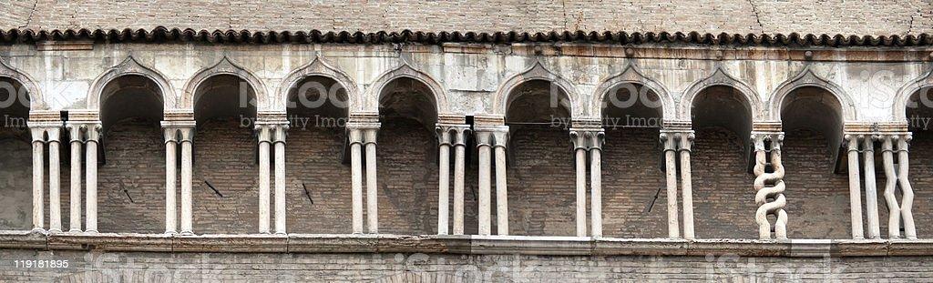 row of columns romanesque architecture royalty-free stock photo