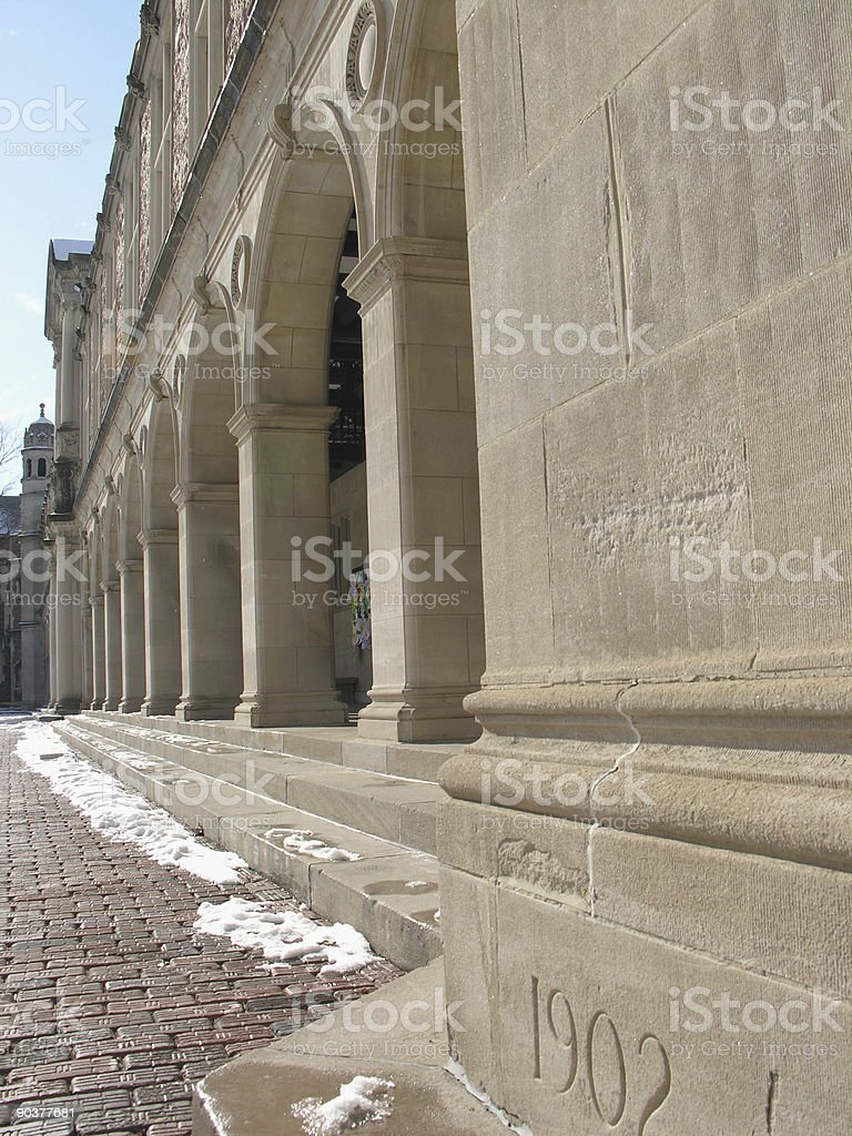 Row of Columns with Cornerstone royalty-free stock photo