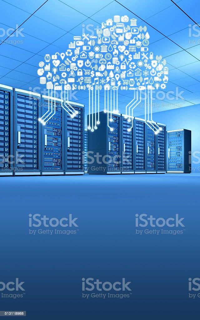 Wiersz Serwerów W Kontakcie Ze światem Przez Komputer Chmura
