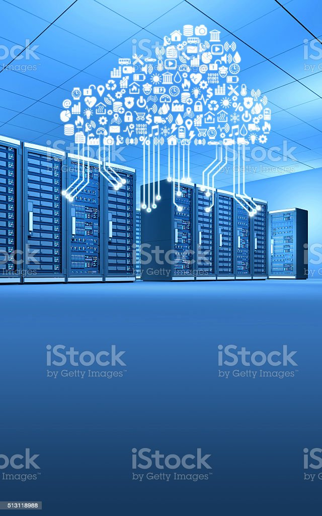 Row of computer servers connected by cloud computing, vertical stock photo