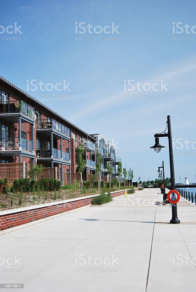 Row of condos in Collingwood, Ontario stock photo