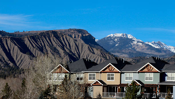 Row of condos with mountains behind in Durango