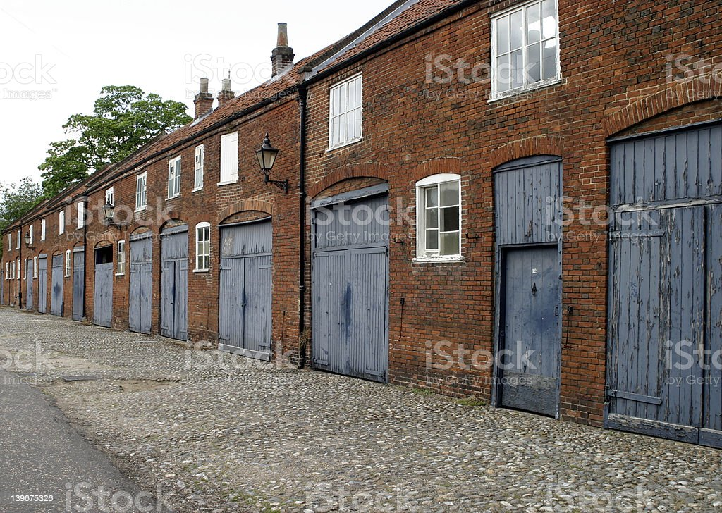 Row of converted stables stock photo