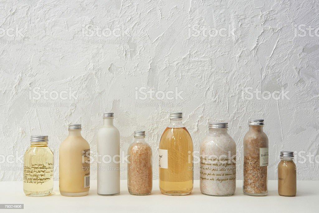 Row of cosmetics bottles stock photo