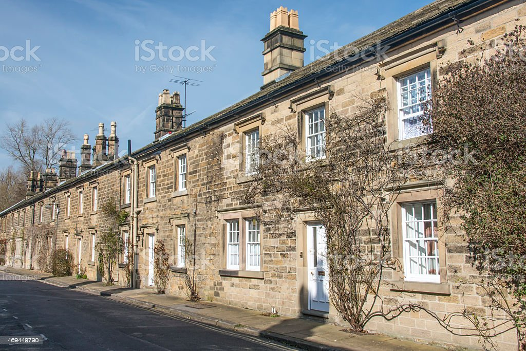 Row of cottages in Bakewell, Derbyshire stock photo