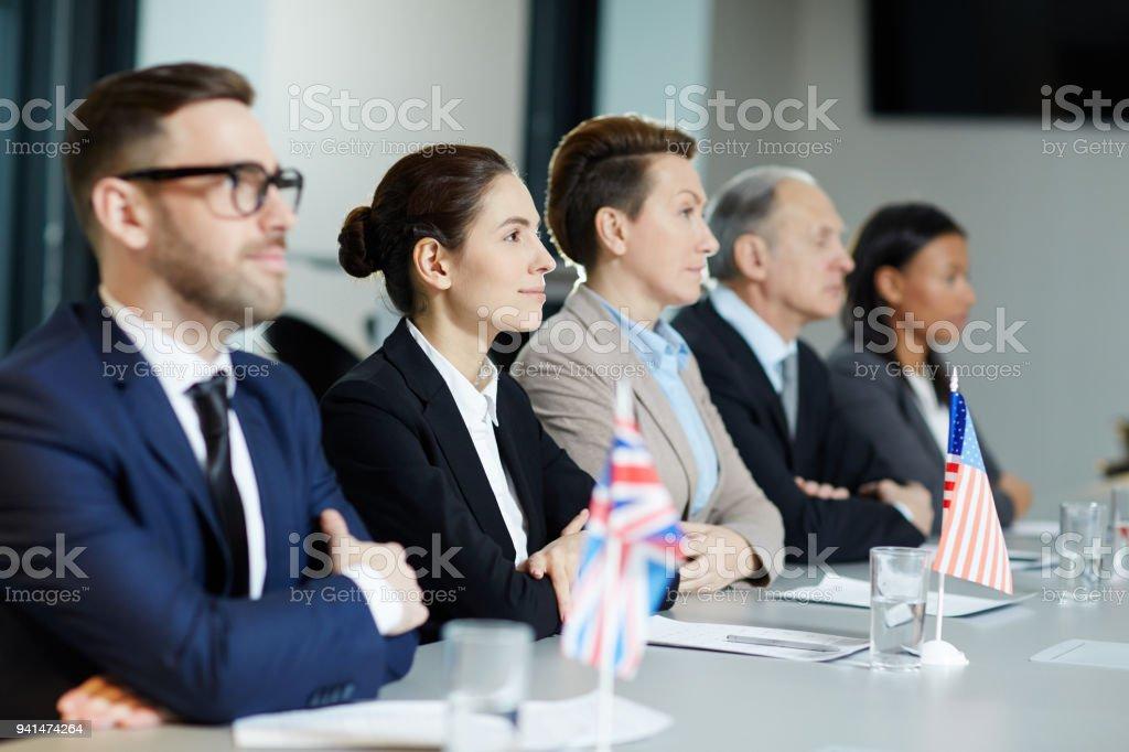 Row of delegates stock photo
