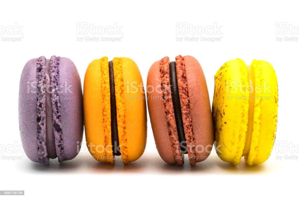 Row of delicious macarons stock photo