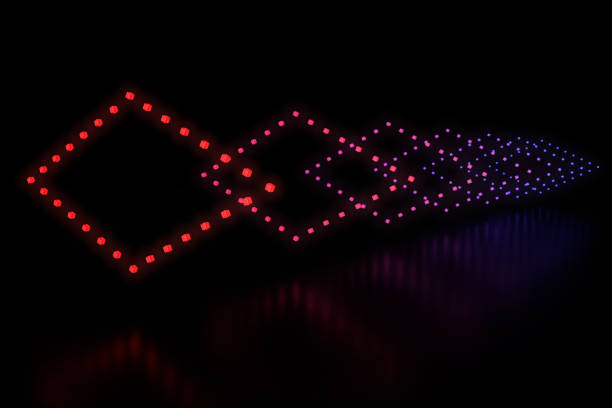 Row of diamonds LED light stock photo