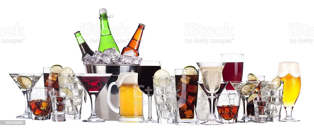 A row of different alcohol in bottles mugs and glasses stock photo