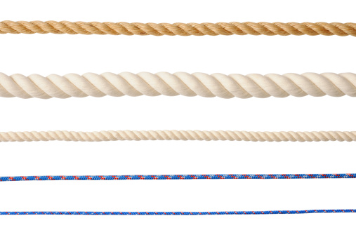 Row of different type of ropes isolated on white background with clipping path.