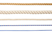istock Row of different type of ropes isolated on white background 175033707
