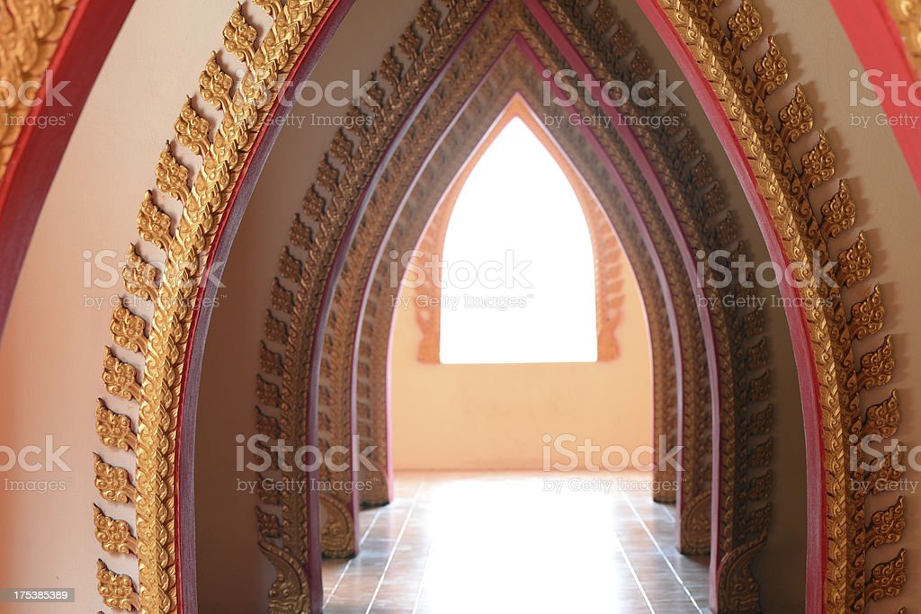 Row of door at Buddhism temple in Thailand royalty-free stock photo