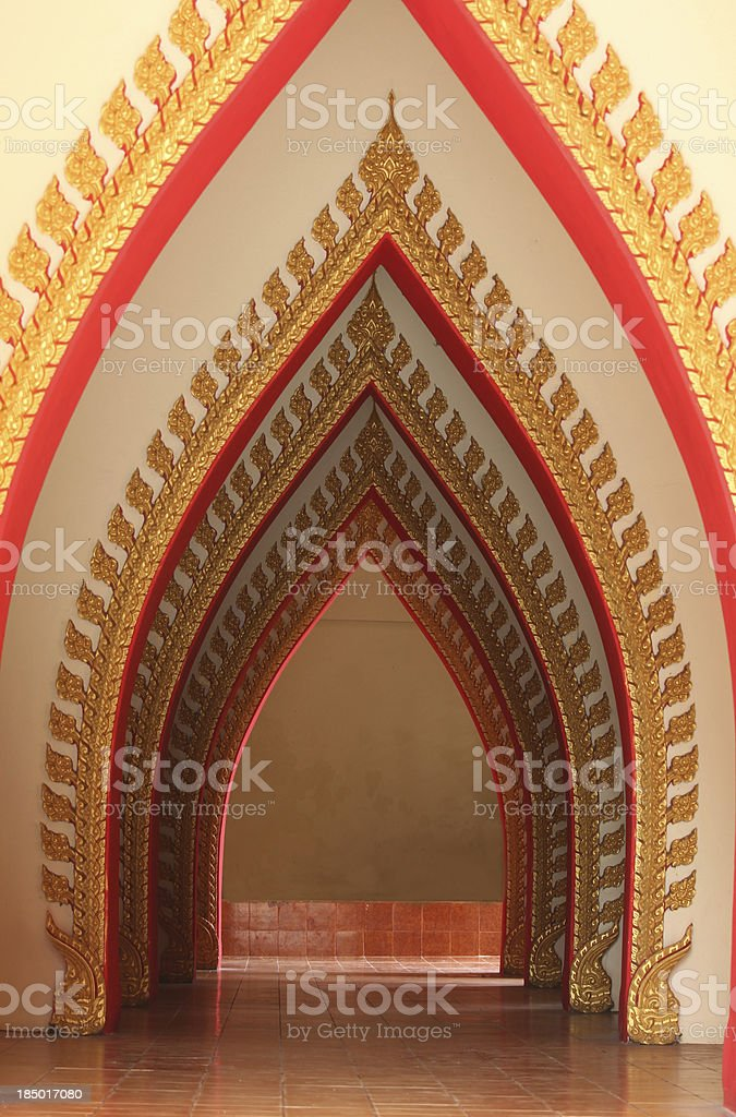 Row of door at  temple in Thailand royalty-free stock photo