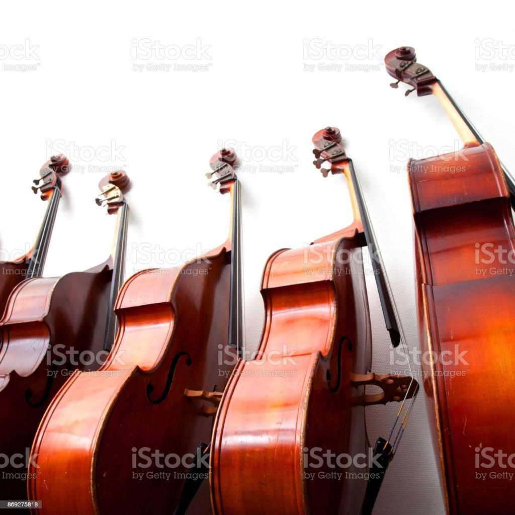 row of double basses against a wall on square picture stock photo