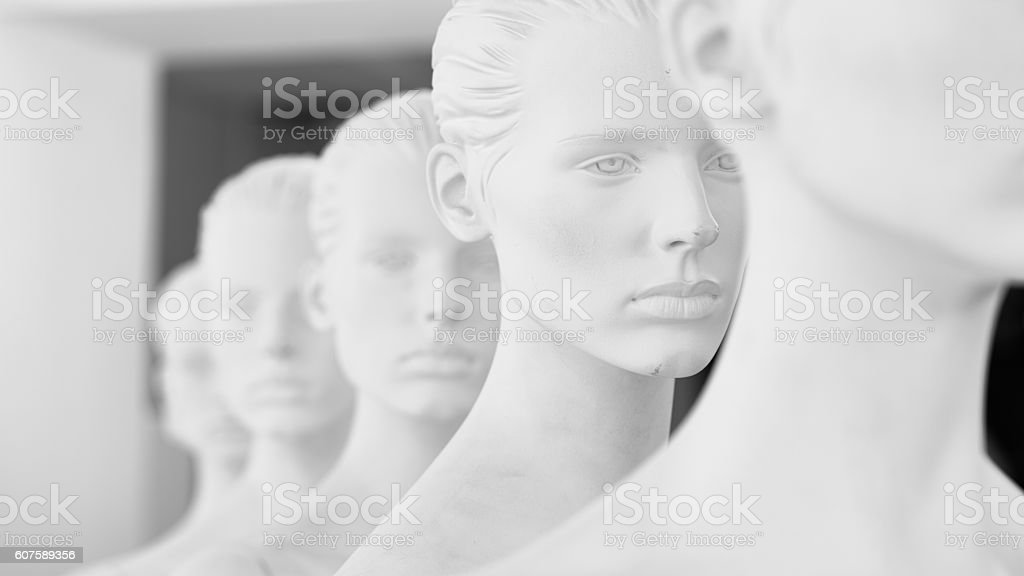 Row of dummies stock photo