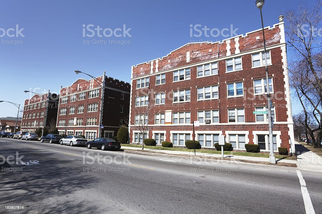 Row of Edwardian Apartment Buildings in Southwest Chicago royalty-free stock photo