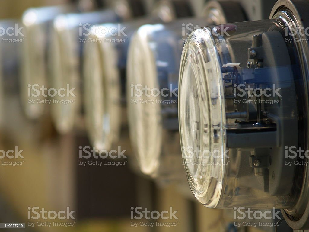 Row of Electric Meters Array stock photo