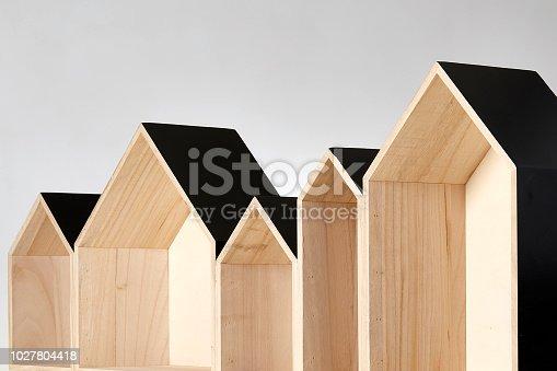 Row of empty wooden houses