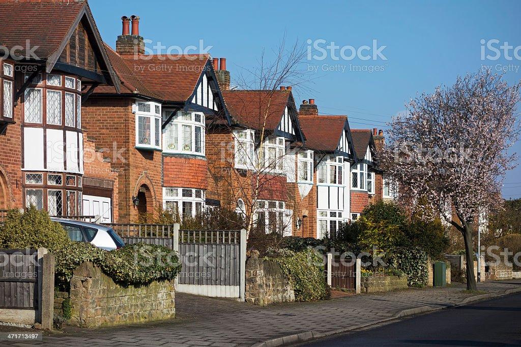 Row of English suburban houses. royalty-free stock photo