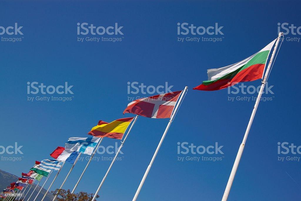 row of european national flags royalty-free stock photo