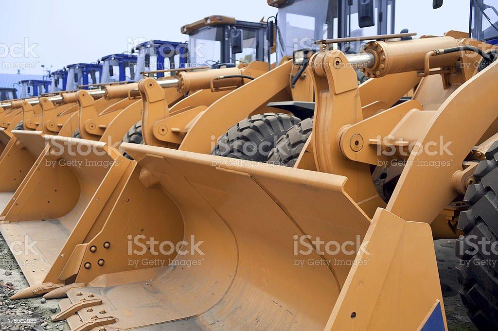 Row of Excavators stock photo