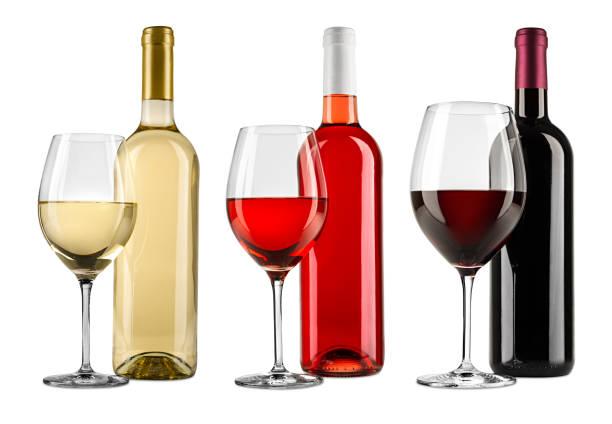 Reihe von exquisiten Rot-Weiß-und Rosenweinflaschen Glas-Set Kollektion isoliert auf weißem Hintergrund – Foto