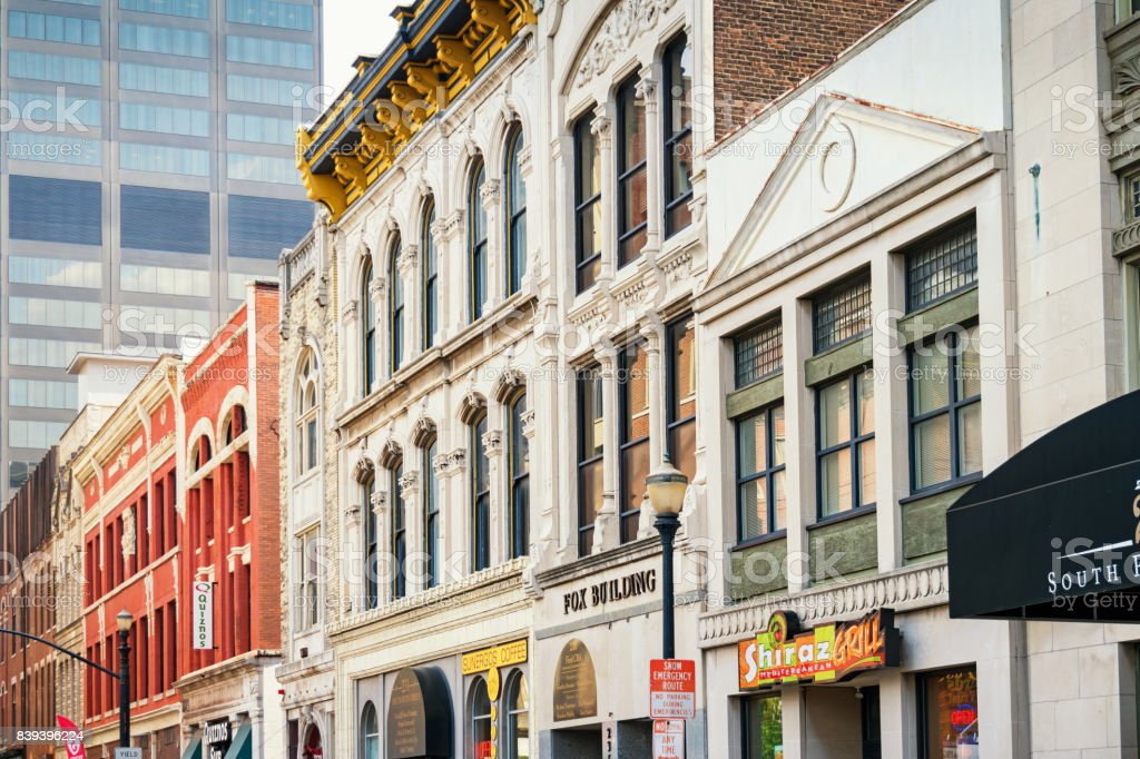Row of facades in downtown Louisville Kentucky USA stock photo