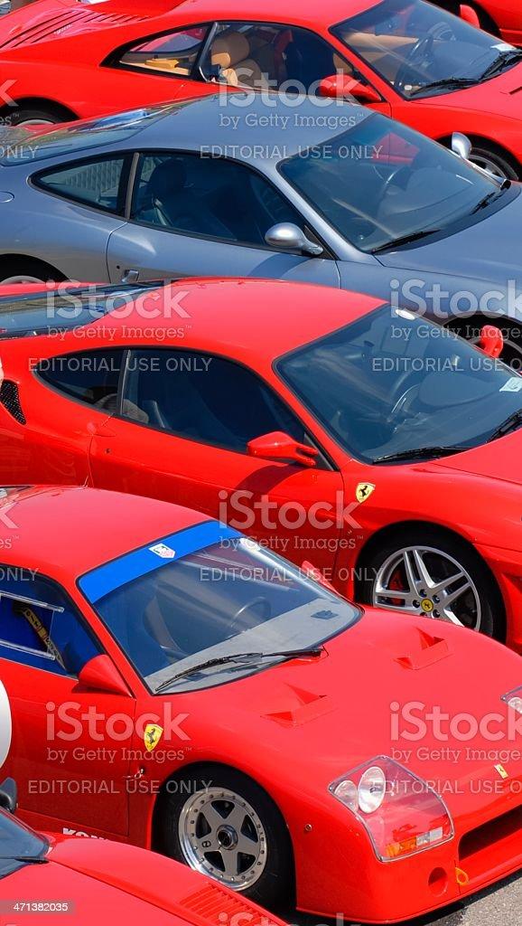 Row of Ferrari sports cars stock photo