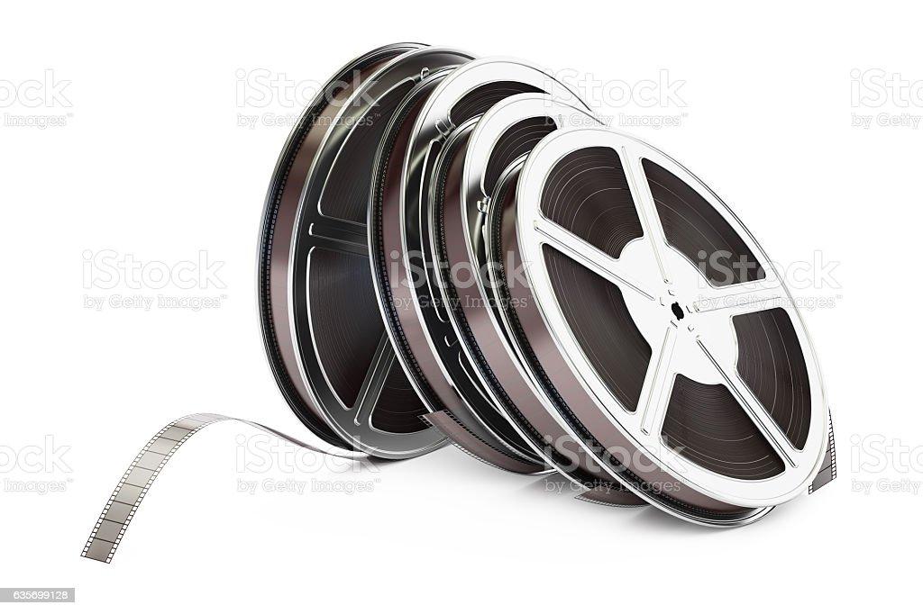 Row of film reels, 3D rendering royalty-free stock photo