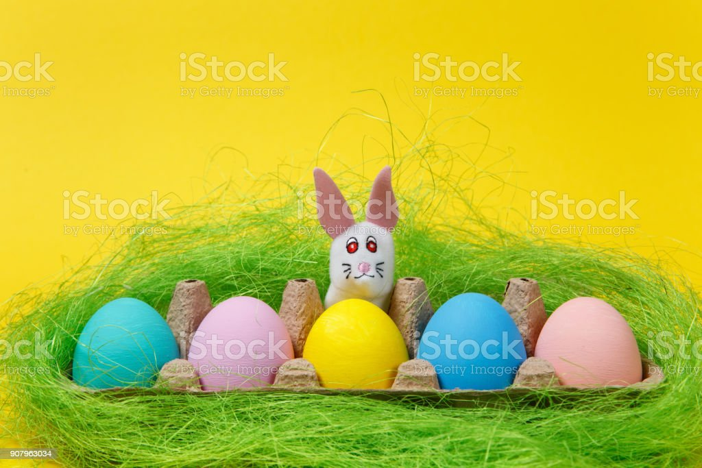 Row of five colorful pastel monophonic painted Easter eggs in cardboard tray, white bunny in green grass on yellow background. Happy Easter concept. Copy space for advertisement. With place for text. stock photo