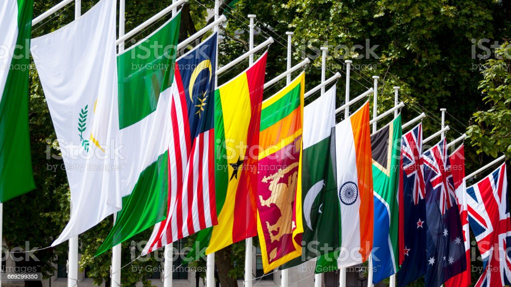 Row of flags of Commonwealth stock photo