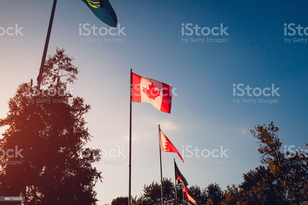A row of flying flags of nations on sunset sky background. Flags of different countries. Union of nations. Canadian flag - Стоковые фото Бахрейн роялти-фри