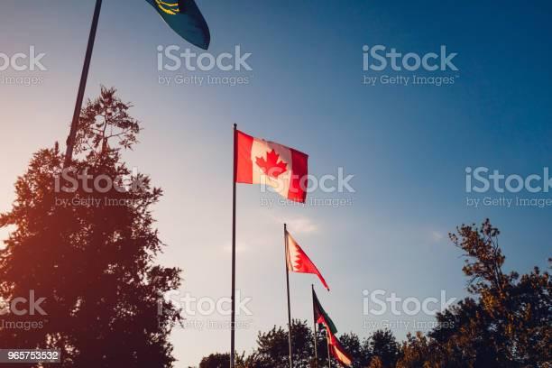 Ряд Развеваются Флаги Наций На Фоне Закатного Неба Флаги Разных Стран Союз Наций Канадский Флаг — стоковые фотографии и другие картинки Бахрейн