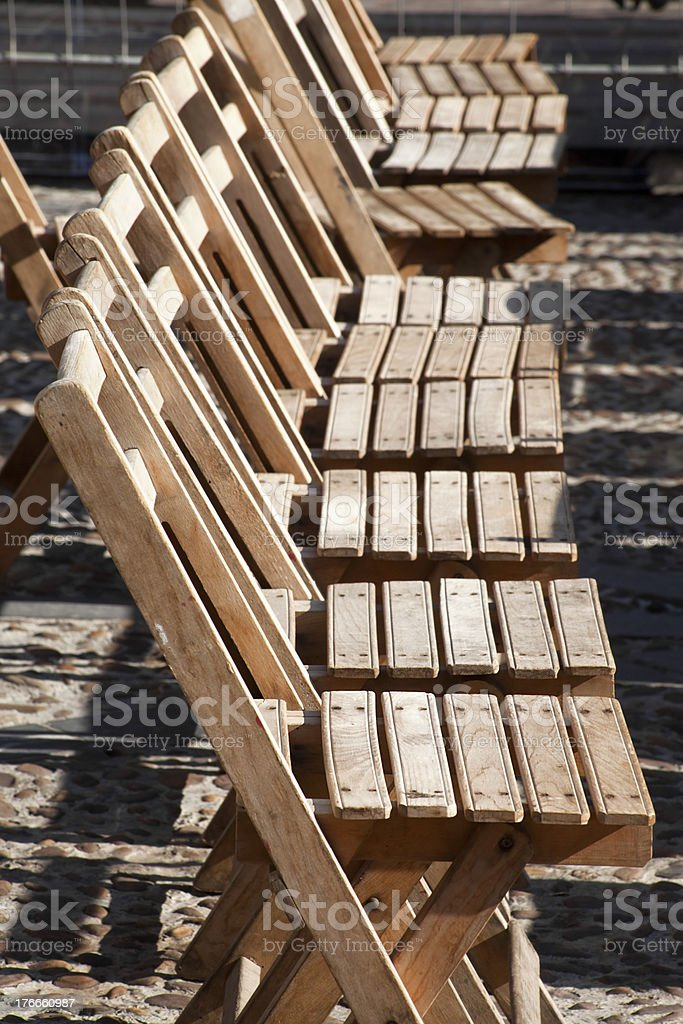 Row of folding chairs. royalty-free stock photo