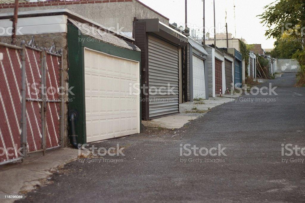 Row of Garages - Brooklyn, NY stock photo