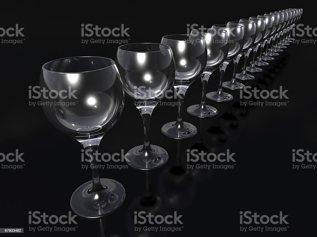 Row of glass goblets royalty-free stock photo