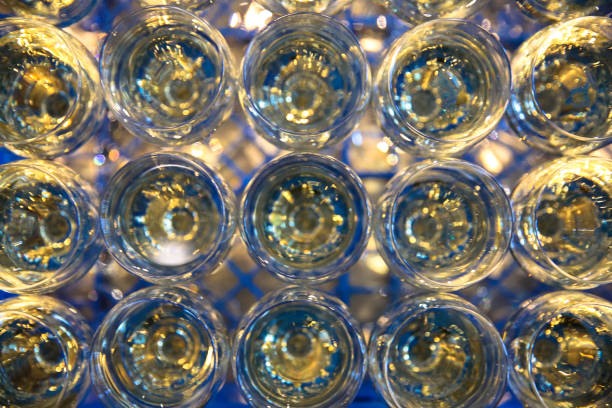 Row of glasses of wine. A restaurant. Buffet. stock photo