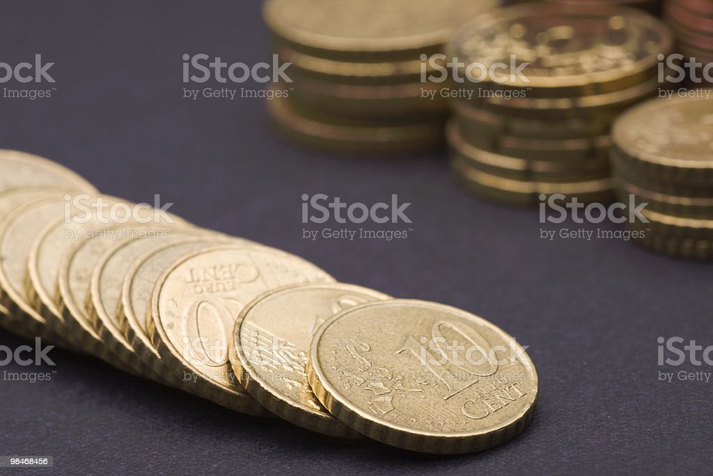 row of golden cents royalty-free stock photo