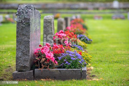 Sun shining on a row of gravestones with red, pink and blue flowers on a beautiful and well cared cemetery in Sweden