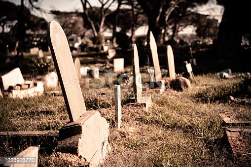 Blank head stones in an unkempt graveyard in Cape Town, South Africa