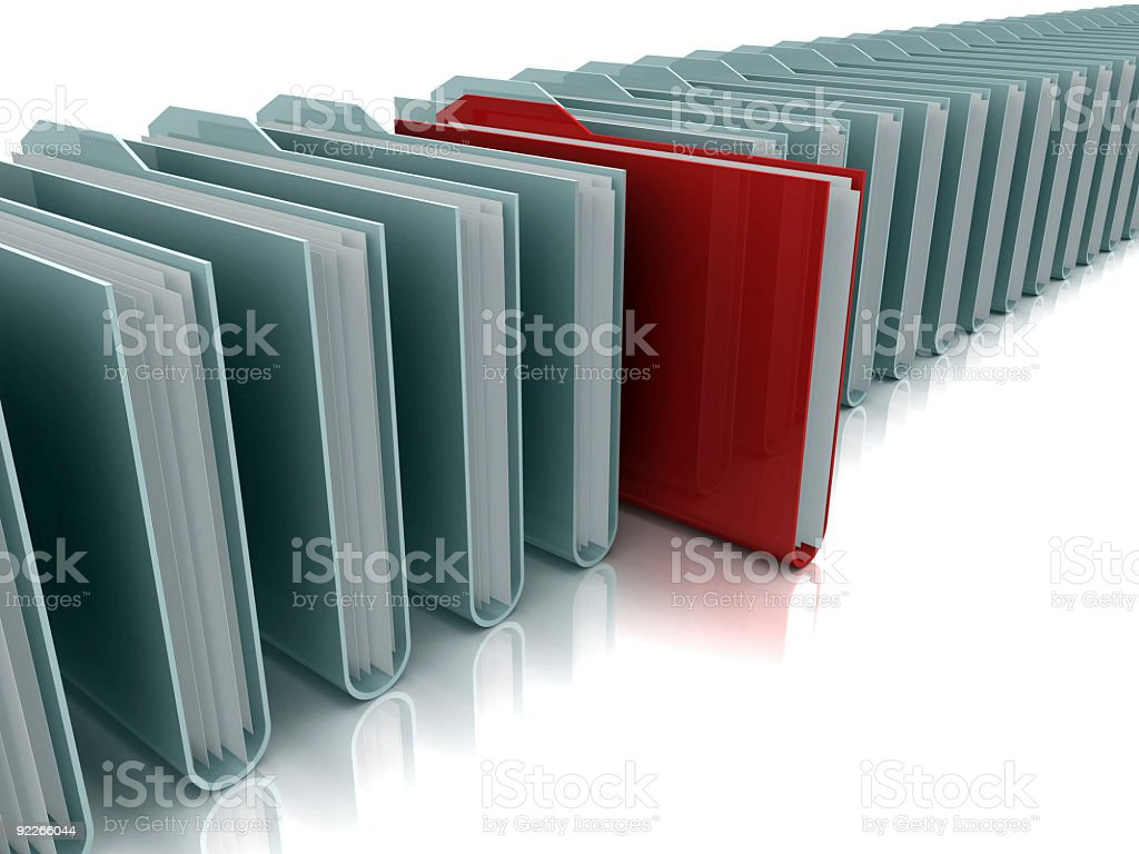 Row of gray folders with red folder standing out royalty-free stock photo