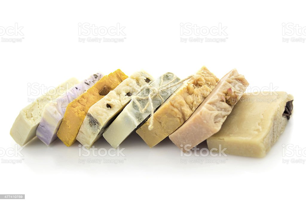Row of handmade soap  isolated on white stock photo