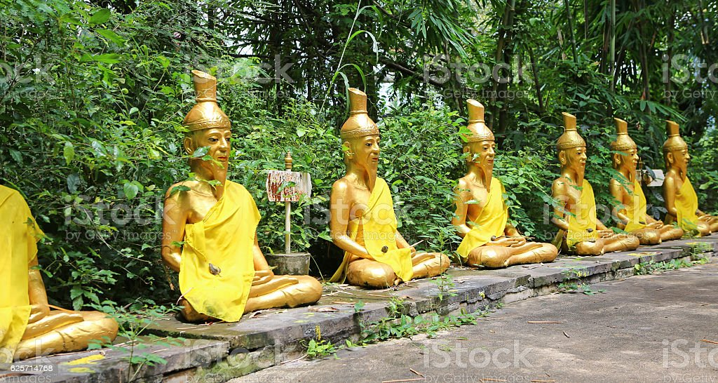 Row of Hermit statue at Wat Tabkloa, Phijit, Thailand stock photo