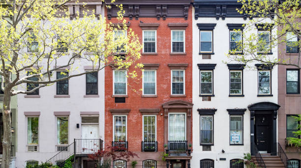 Row of historic buildings along 30th Street in Manhattan, New York City stock photo
