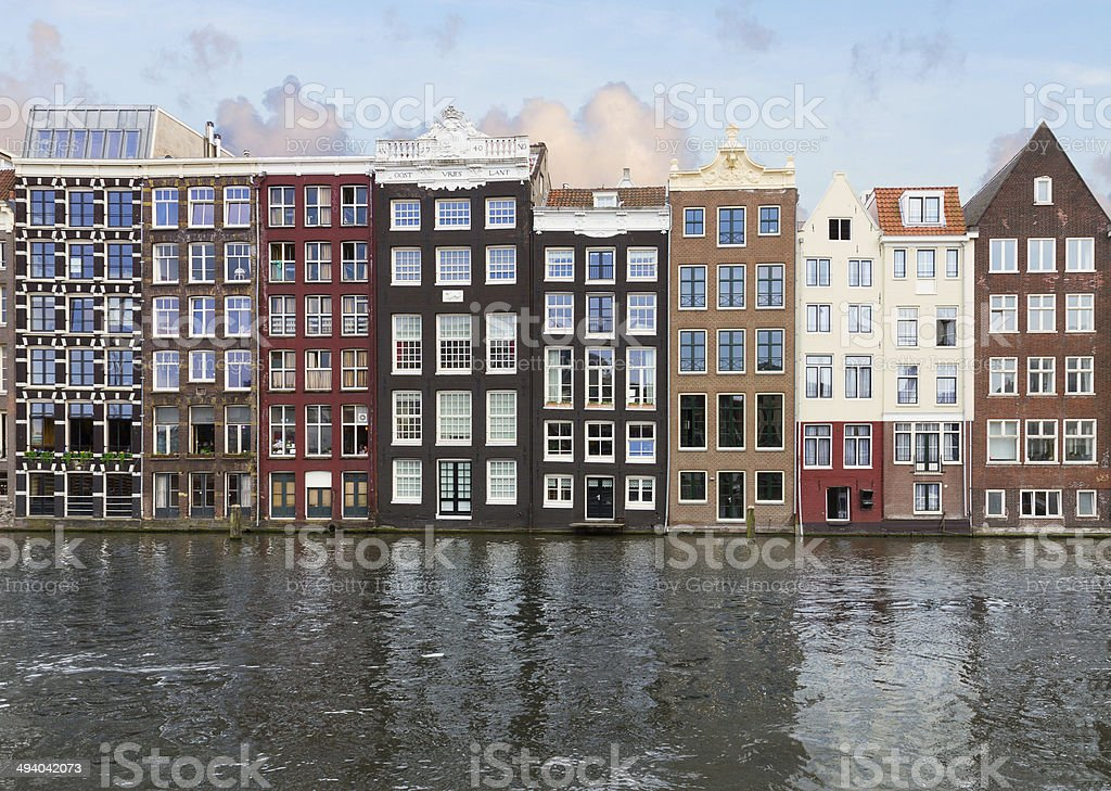 row of historic buildings, Amsterdam royalty-free stock photo