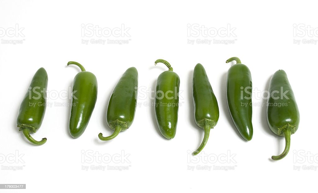 Row of Hot Japapeno Peppers royalty-free stock photo