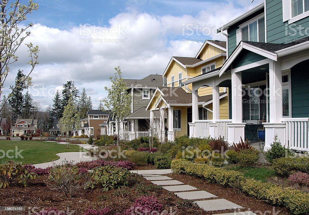 Row of houses in a nice neighborhood royalty-free stock photo